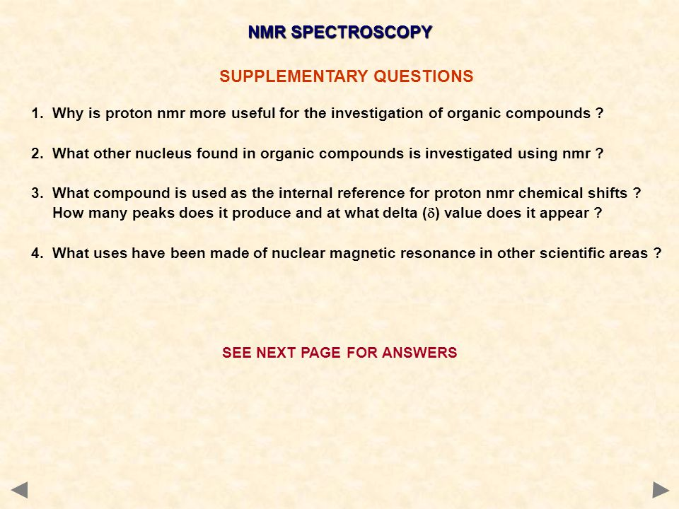 NMR SPECTROSCOPY SUPPLEMENTARY QUESTIONS