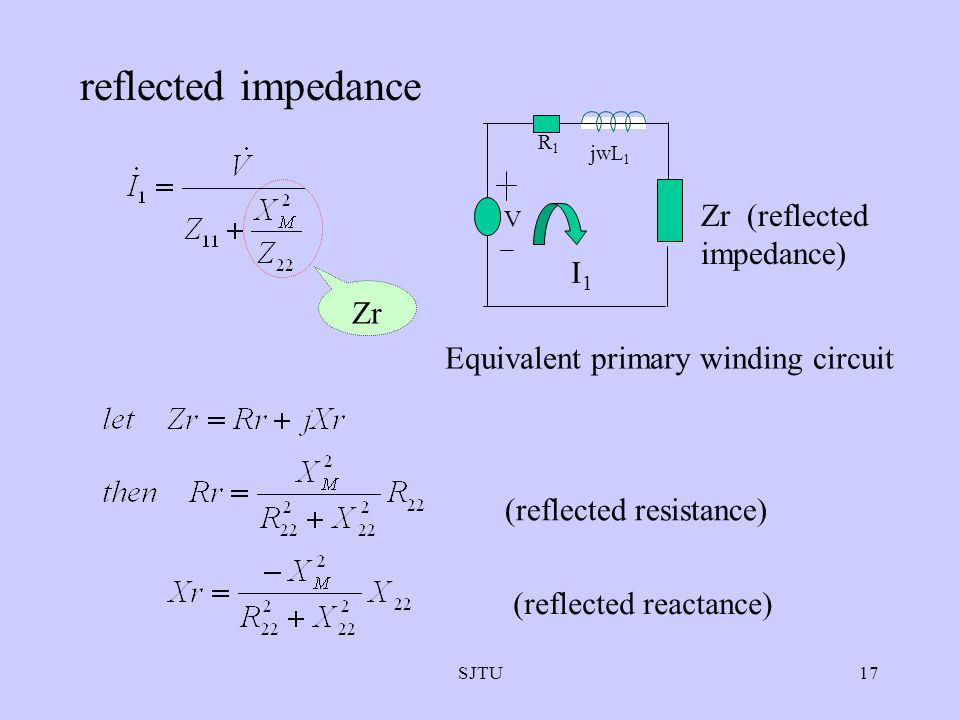 reflected impedance Zr (reflected impedance) I1 Zr