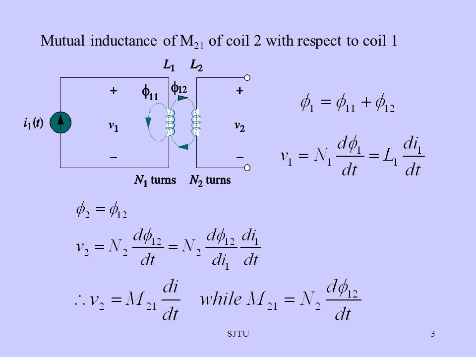 Mutual inductance of M21 of coil 2 with respect to coil 1