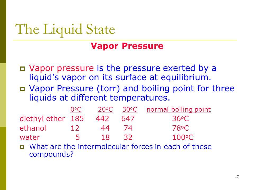 The Liquid State Vapor Pressure