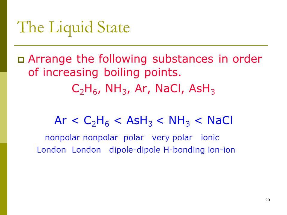 Ar < C2H6 < AsH3 < NH3 < NaCl