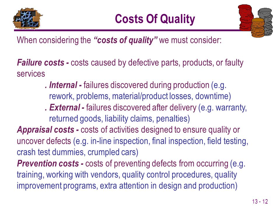 Costs Of Quality When considering the costs of quality we must consider: