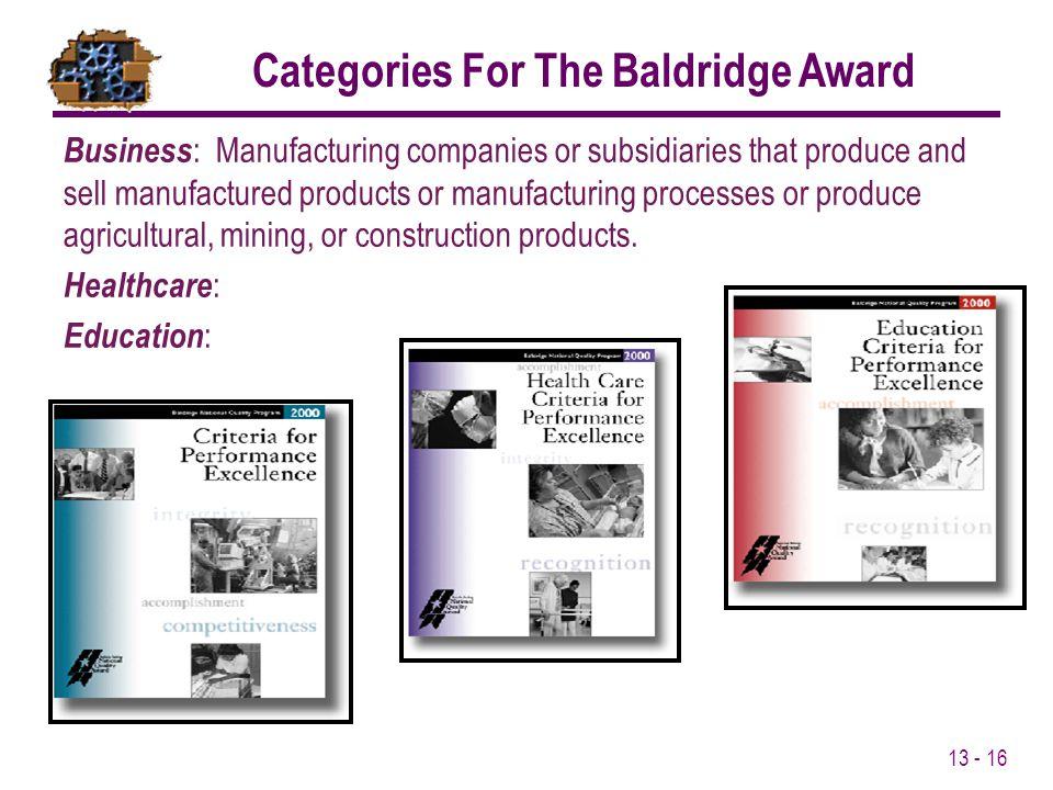 Categories For The Baldridge Award