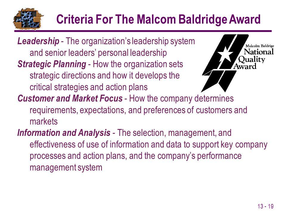 Criteria For The Malcom Baldridge Award