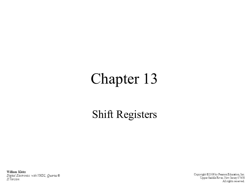 Chapter 13 Shift Registers