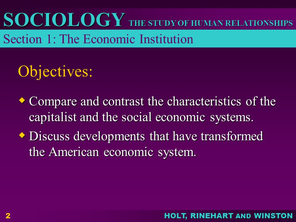 Objectives: Section 1: The Economic Institution