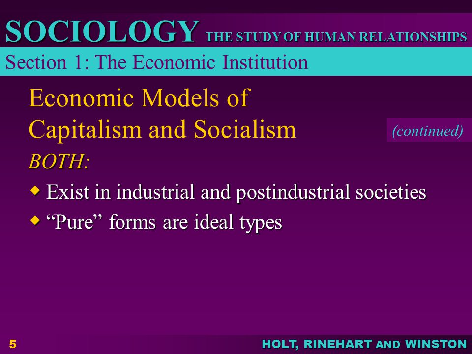Economic Models of Capitalism and Socialism