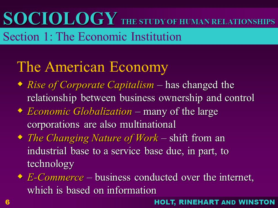 The American Economy Section 1: The Economic Institution
