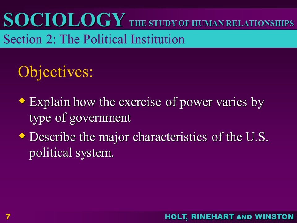 Objectives: Section 2: The Political Institution