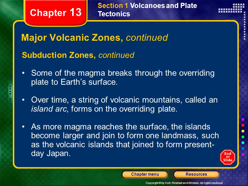 Major Volcanic Zones, continued