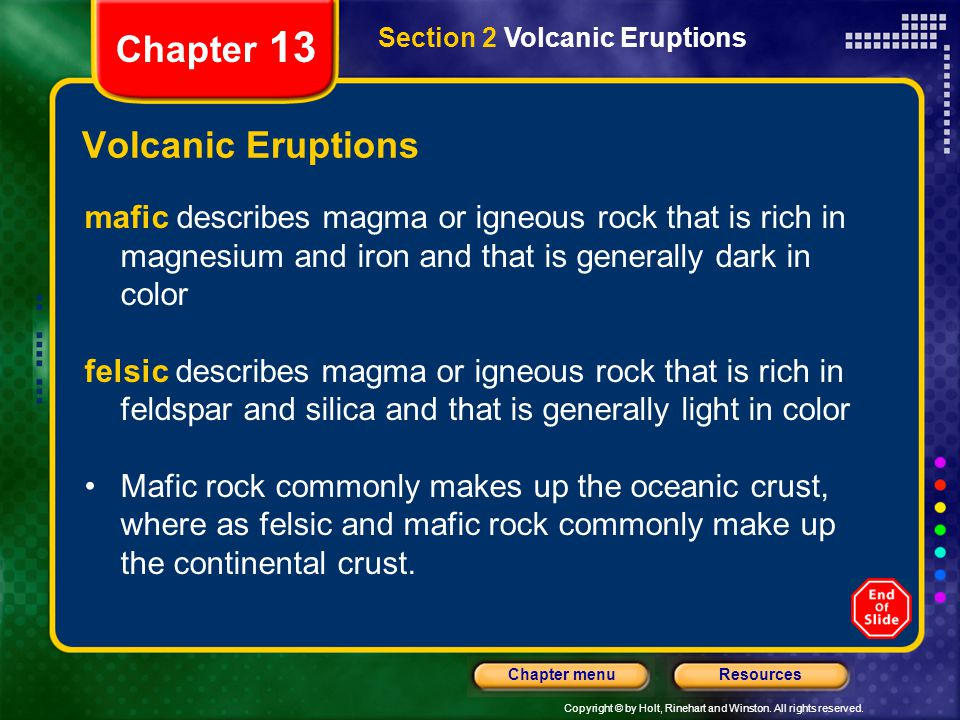 Chapter 13 Volcanic Eruptions