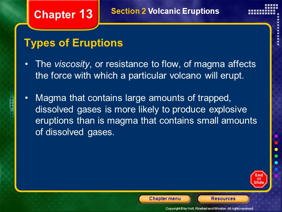 Chapter 13 Types of Eruptions