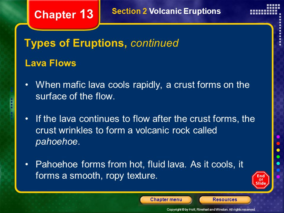 Types of Eruptions, continued