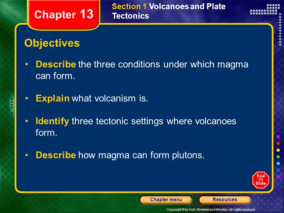 Section 1 Volcanoes and Plate Tectonics