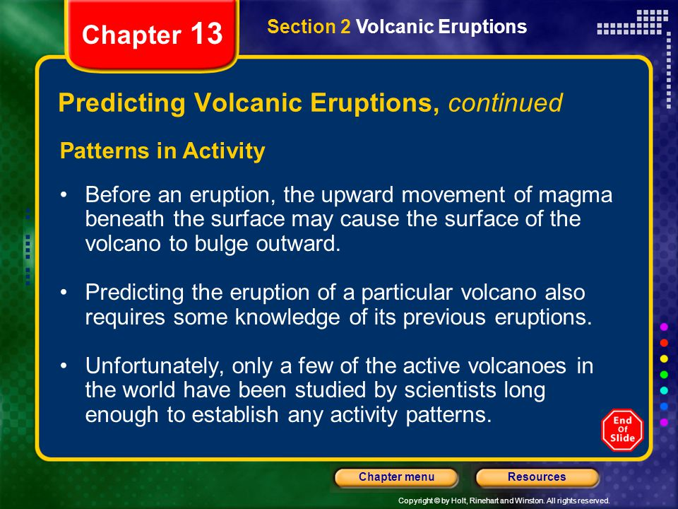 Predicting Volcanic Eruptions, continued