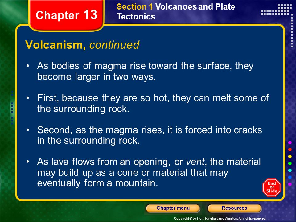 Chapter 13 Volcanism, continued