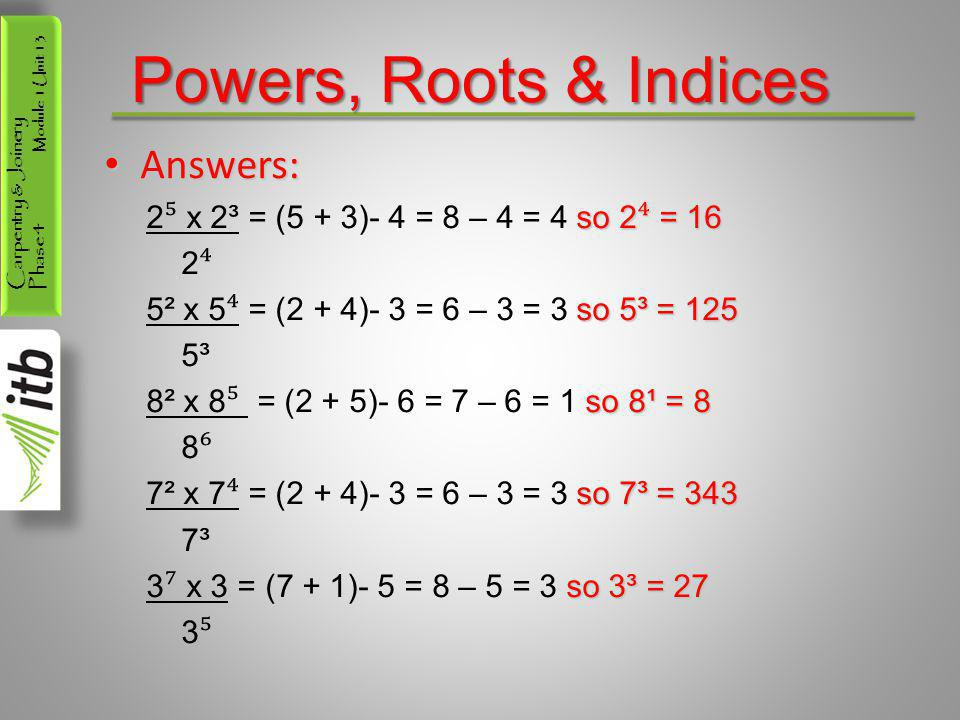Powers, Roots & Indices Answers: