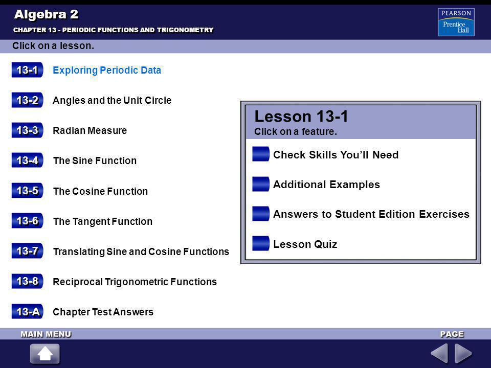Lesson 13-1 Algebra 2 13-1 13-2 13-3 Check Skills You'll Need 13-4