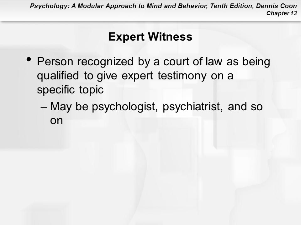 Expert Witness Person recognized by a court of law as being qualified to give expert testimony on a specific topic.