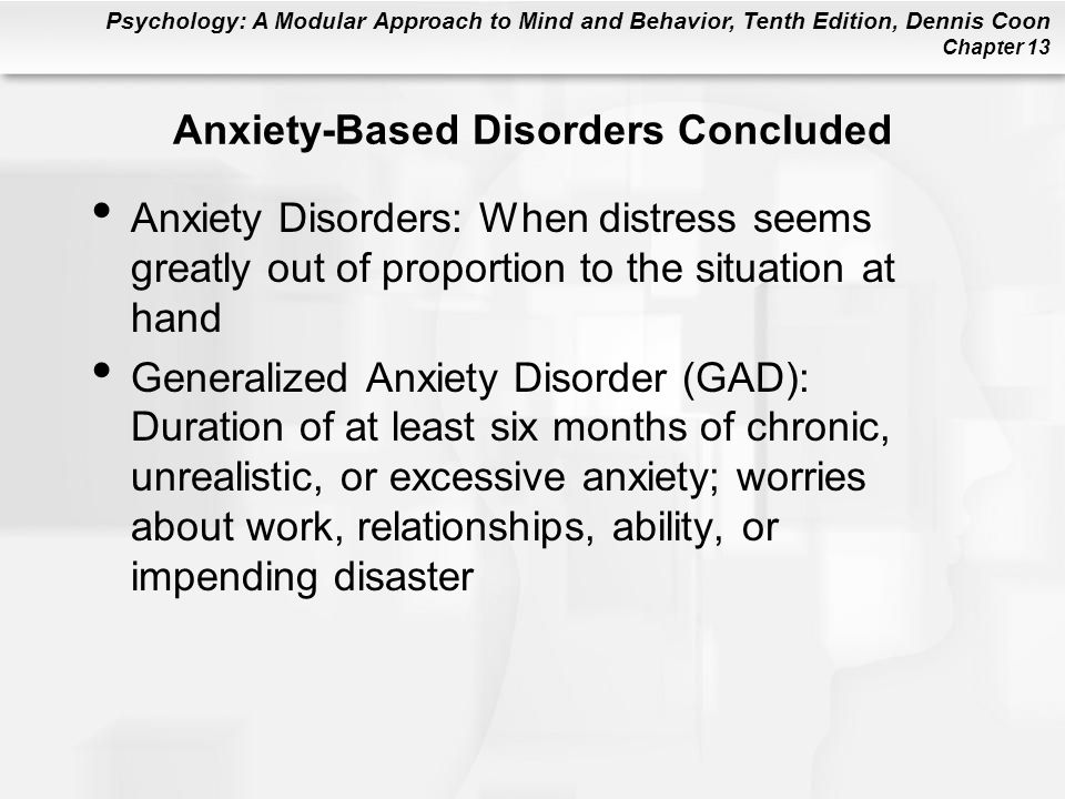 Anxiety-Based Disorders Concluded