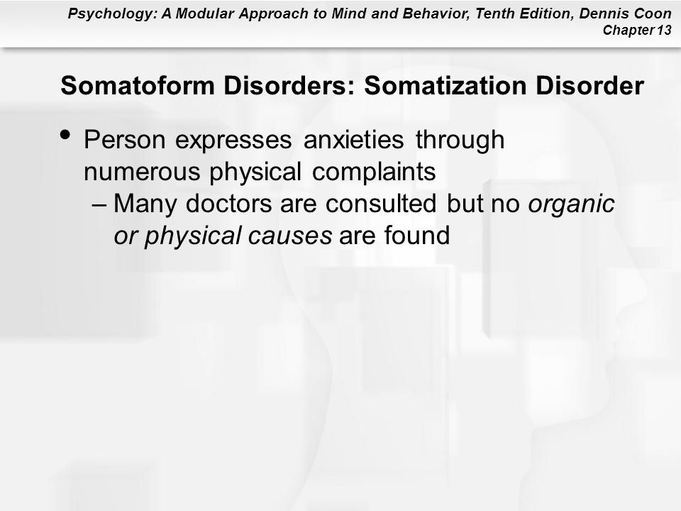 Somatoform Disorders: Somatization Disorder