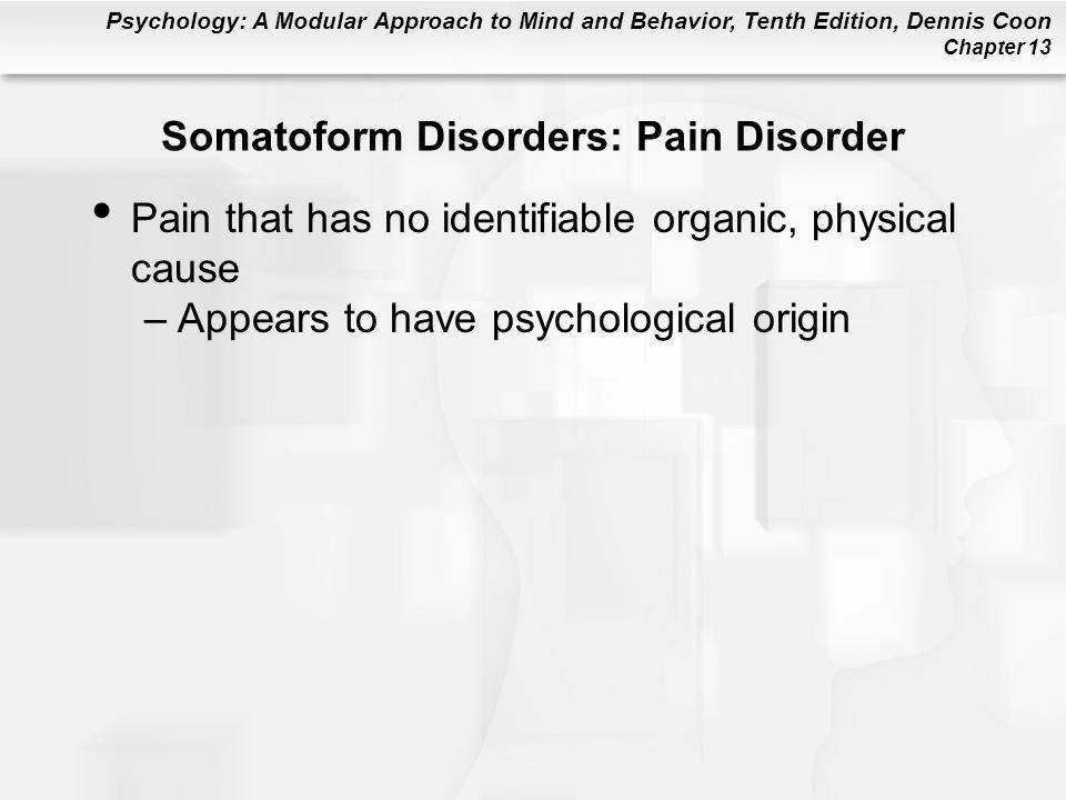 Somatoform Disorders: Pain Disorder