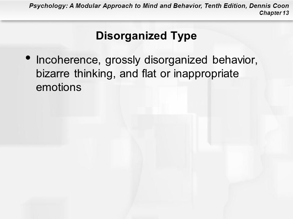 Disorganized Type Incoherence, grossly disorganized behavior, bizarre thinking, and flat or inappropriate emotions.