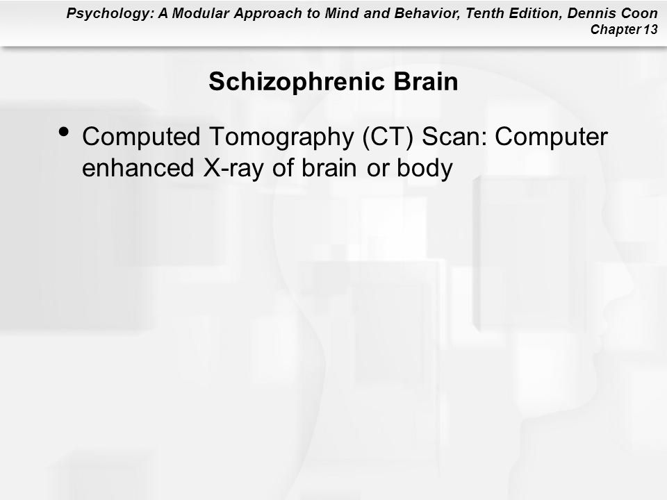Schizophrenic Brain Computed Tomography (CT) Scan: Computer enhanced X-ray of brain or body