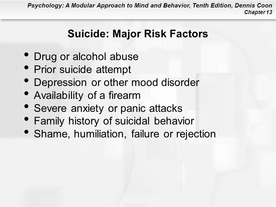 Suicide: Major Risk Factors