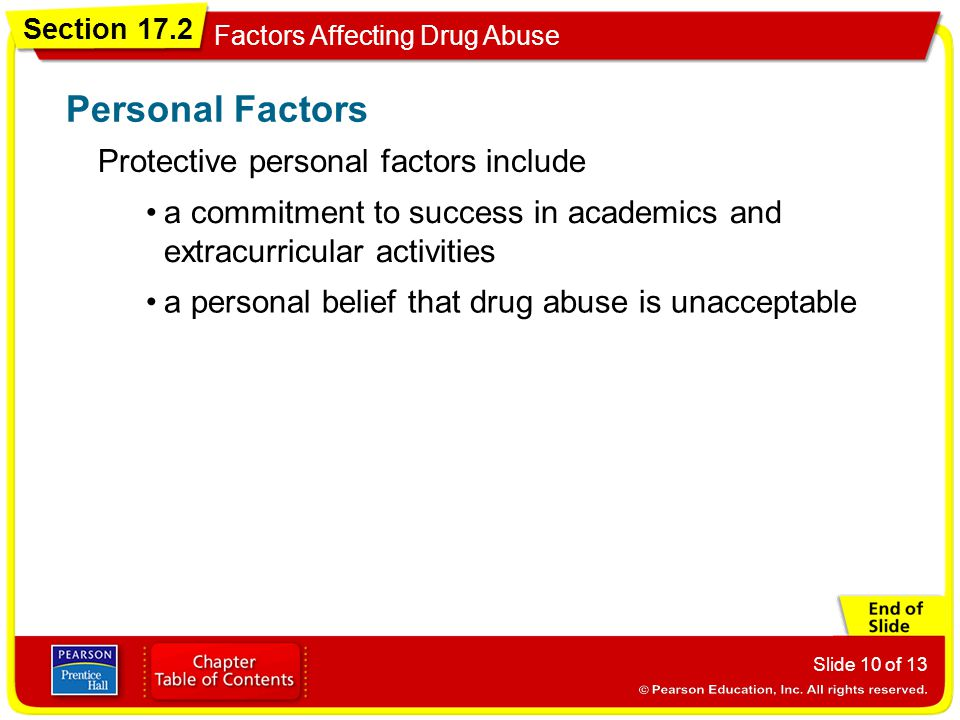 Personal Factors Protective personal factors include