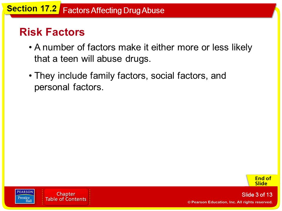 Risk Factors A number of factors make it either more or less likely that a teen will abuse drugs.