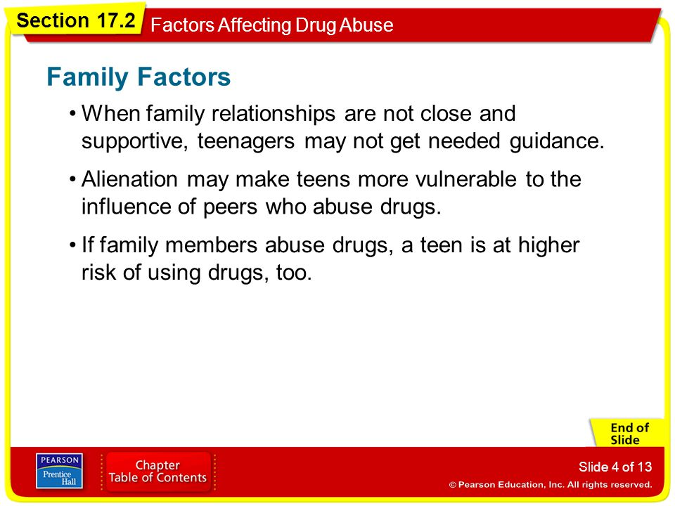 Family Factors When family relationships are not close and supportive, teenagers may not get needed guidance.