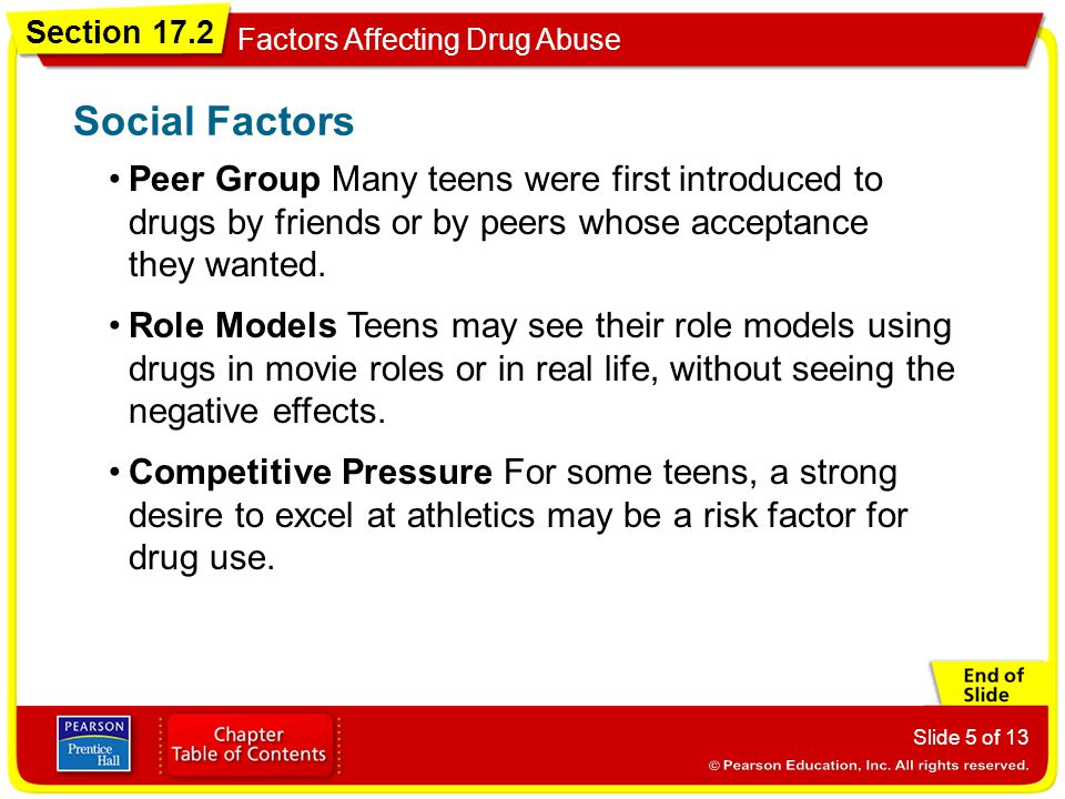 Social Factors Peer Group Many teens were first introduced to drugs by friends or by peers whose acceptance they wanted.