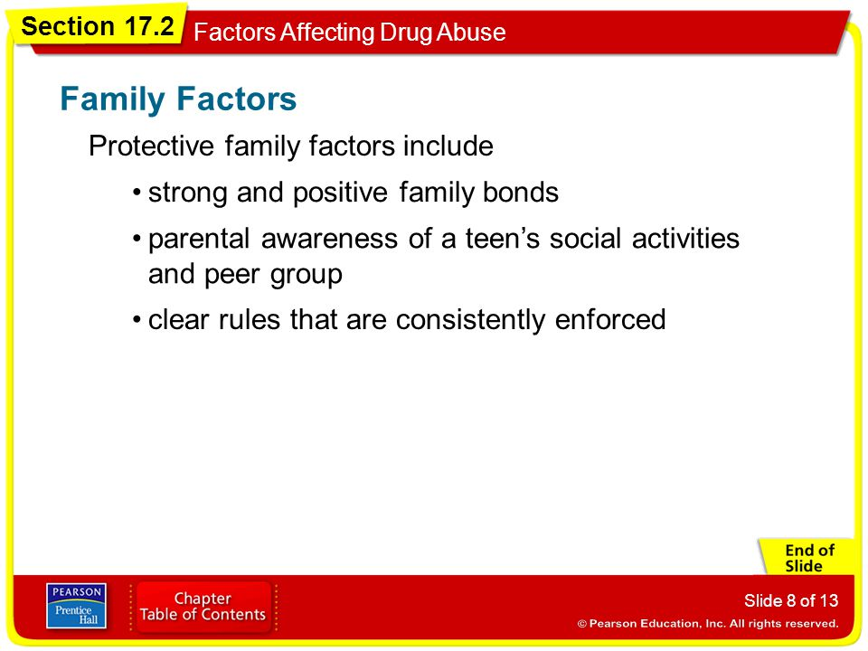 Family Factors Protective family factors include