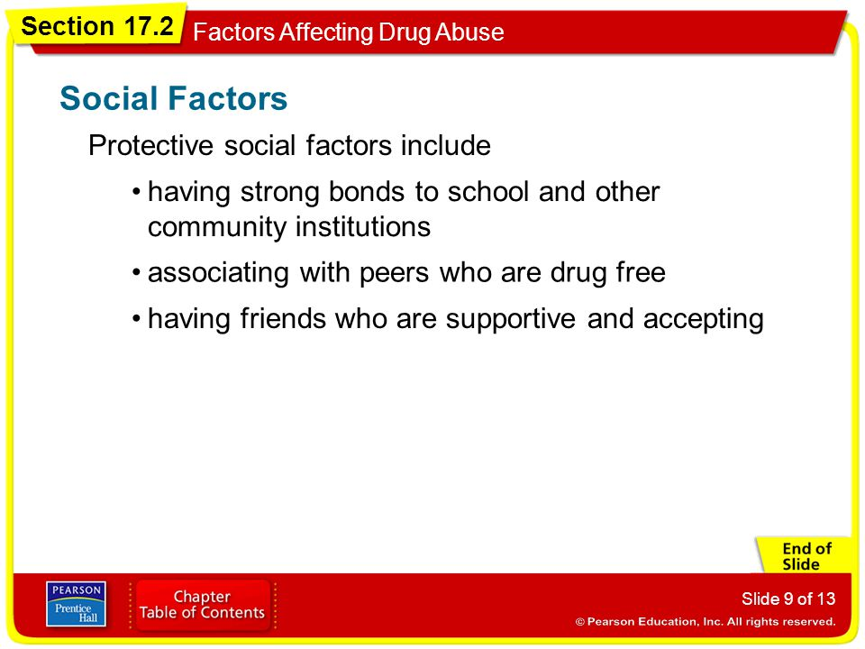 Social Factors Protective social factors include