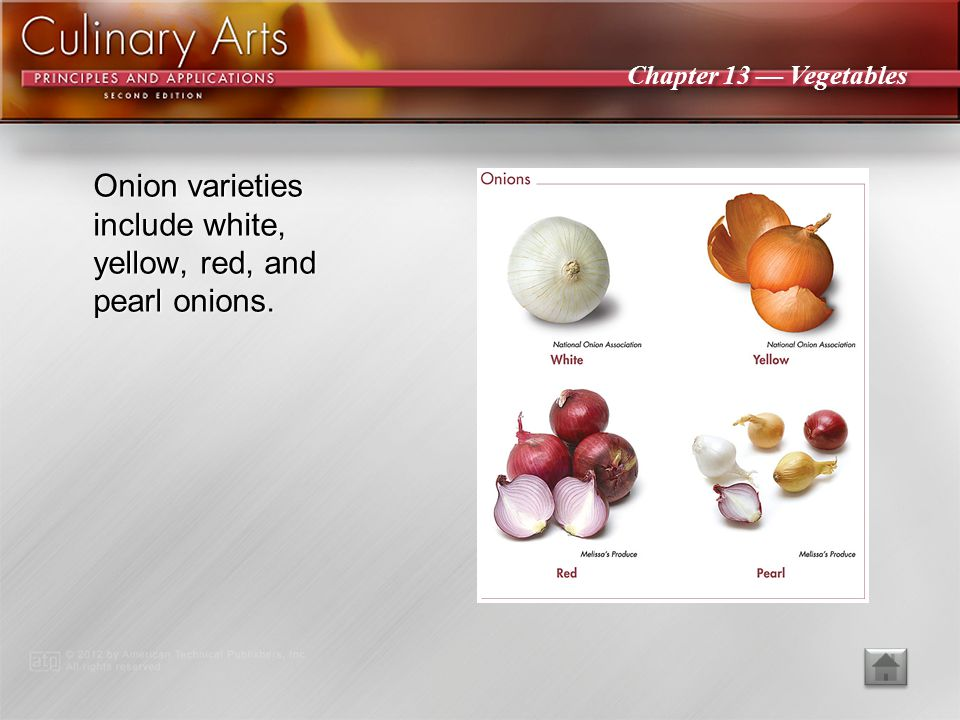 Onion varieties include white, yellow, red, and pearl onions.