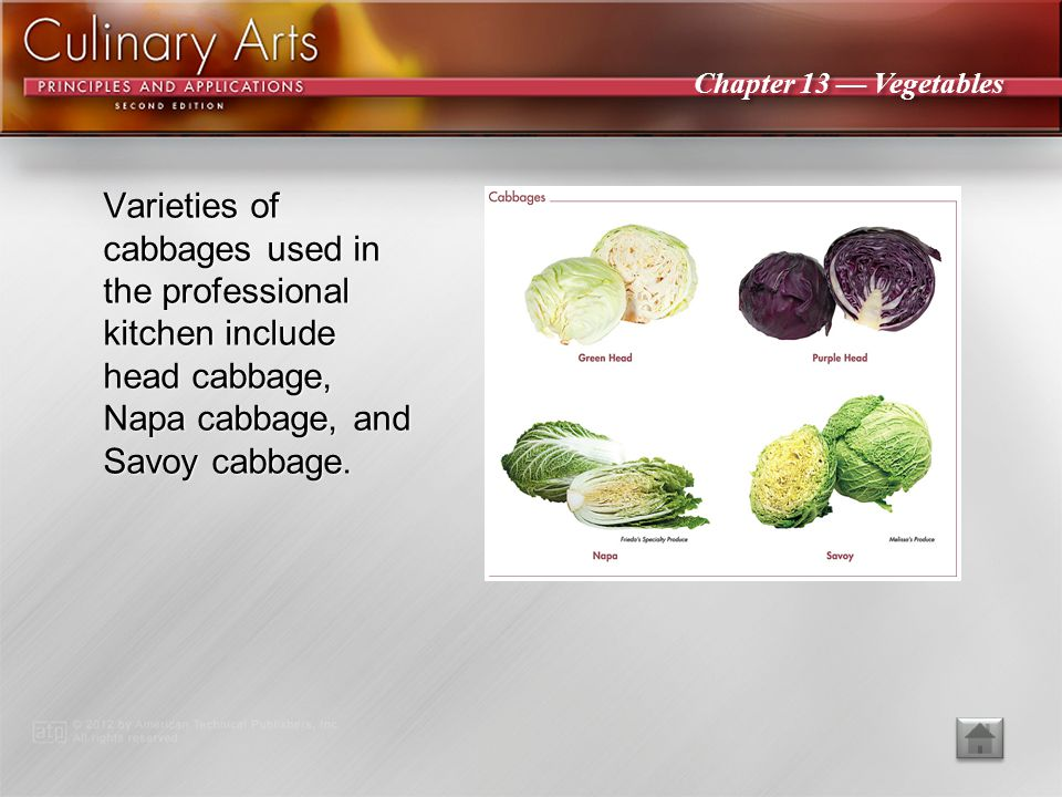 Varieties of cabbages used in the professional kitchen include head cabbage, Napa cabbage, and Savoy cabbage.