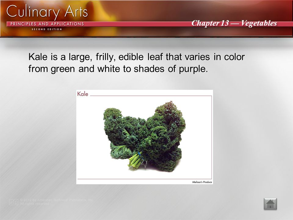 Kale is a large, frilly, edible leaf that varies in color from green and white to shades of purple.