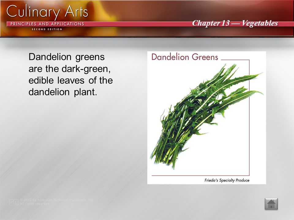 Dandelion greens are the dark-green, edible leaves of the dandelion plant.