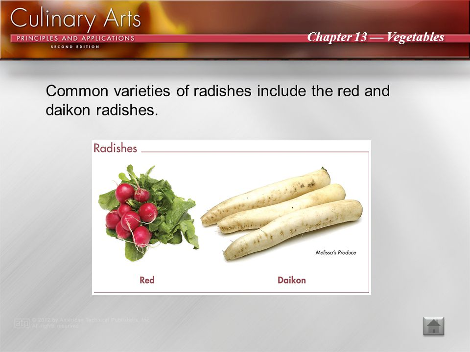 Common varieties of radishes include the red and daikon radishes.