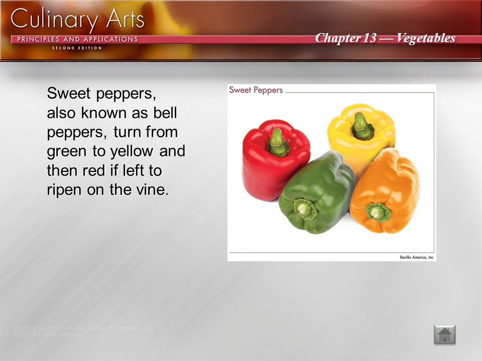 Sweet peppers, also known as bell peppers, turn from green to yellow and then red if left to ripen on the vine.