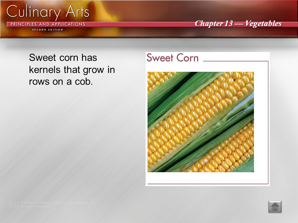 Sweet corn has kernels that grow in rows on a cob.