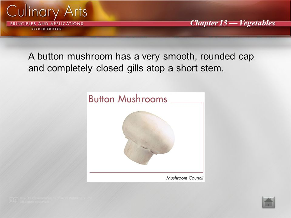 A button mushroom has a very smooth, rounded cap and completely closed gills atop a short stem.