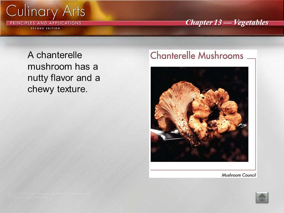 A chanterelle mushroom has a nutty flavor and a chewy texture.