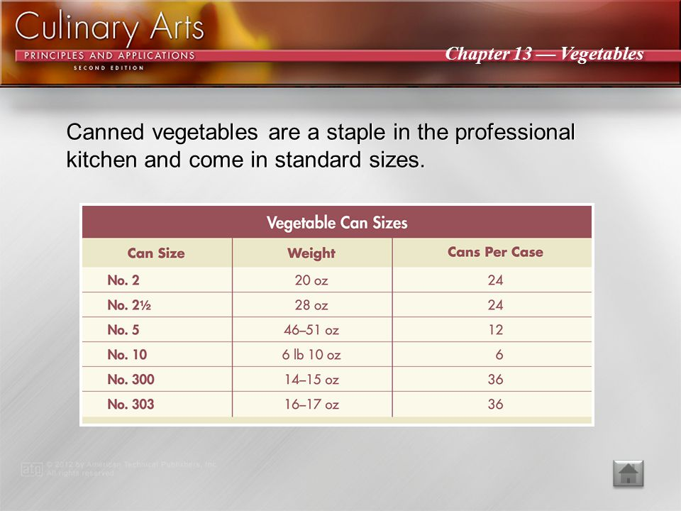 Canned vegetables are a staple in the professional kitchen and come in standard sizes.