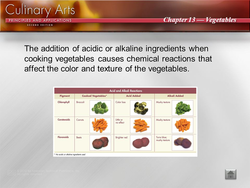 The addition of acidic or alkaline ingredients when cooking vegetables causes chemical reactions that affect the color and texture of the vegetables.