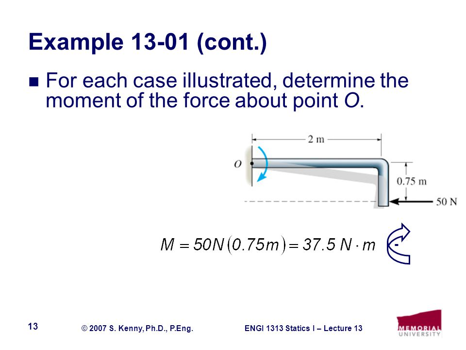 Example 13-01 (cont.) For each case illustrated, determine the moment of the force about point O. -