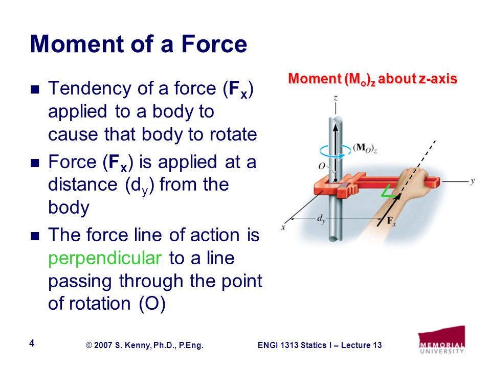 Moment of a Force Moment (Mo)z about z-axis. Tendency of a force (Fx) applied to a body to cause that body to rotate.