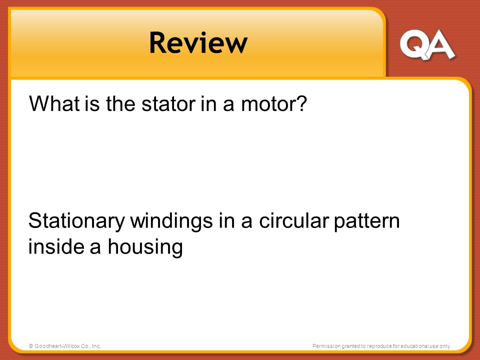 Review What is the stator in a motor