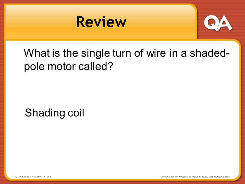 Review What is the single turn of wire in a shaded-pole motor called